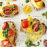 Paleo Grain Free Caprese Crostini with Basil Oil. Recipe and photographs The Luminous Kitchen