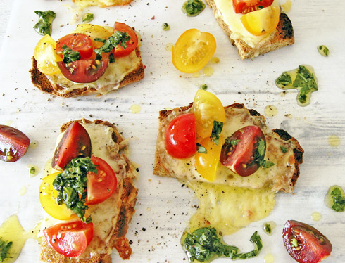 Paleo Grain Free Caprese Crostini with Basil Oil