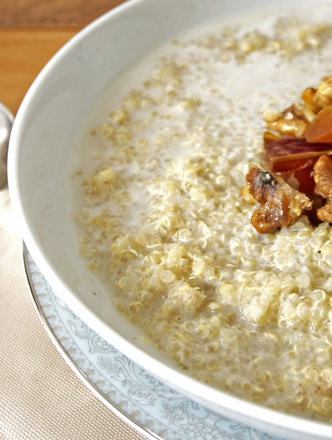 Warm Spiced Quinoa Porridge with Honeyed Walnuts