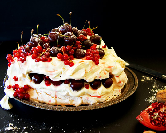Aussie New Years Pavlova with Fresh Festive Berries and White Chocolate Cream