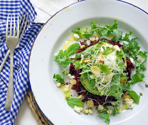 Beetroot and Kale Salad with Tahini Dressing