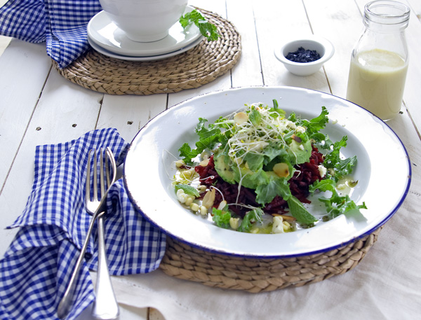 Beetroot and Kale Salad with Tahini Dressing- theluminouskitchen.com