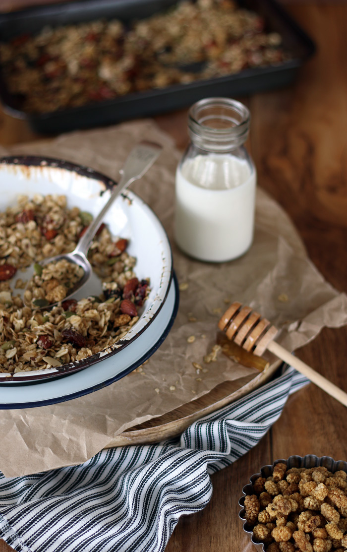 Easy Homemade Muesli with White Mulberries