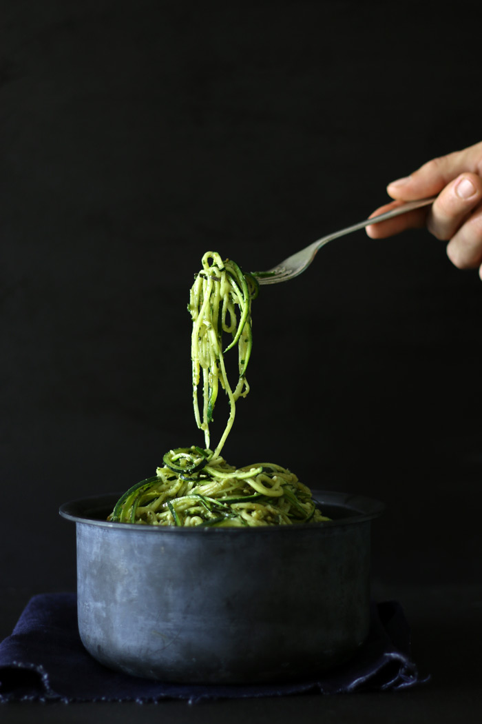raw zuchini pasta ~ www.theluminouskitchen.com