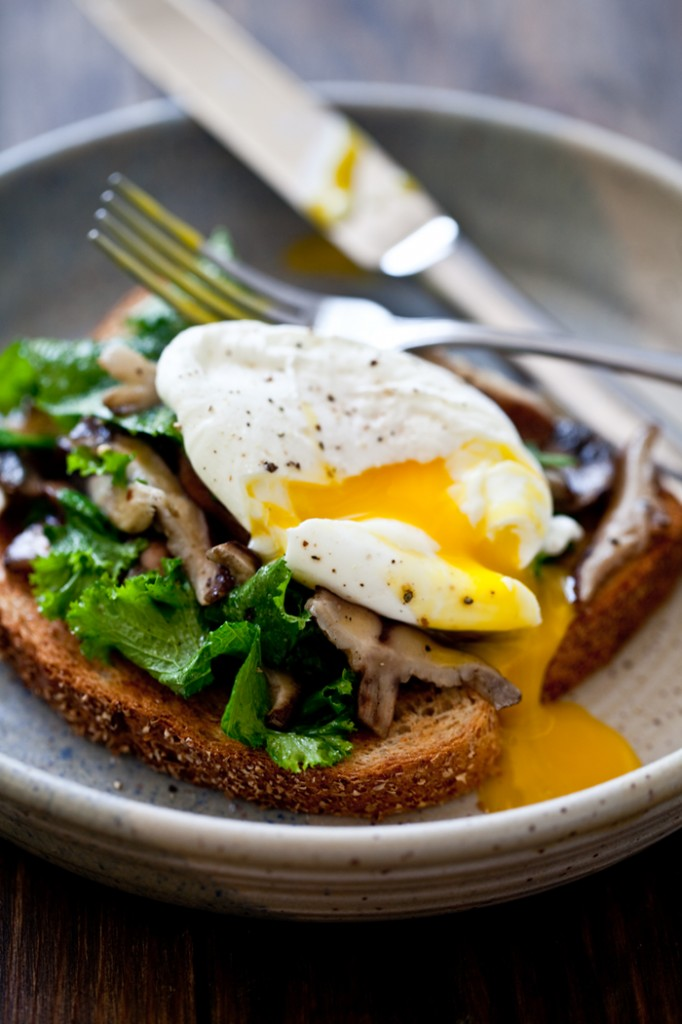 Mushrooms and Wilted Greens Toast with a Poached Egg
