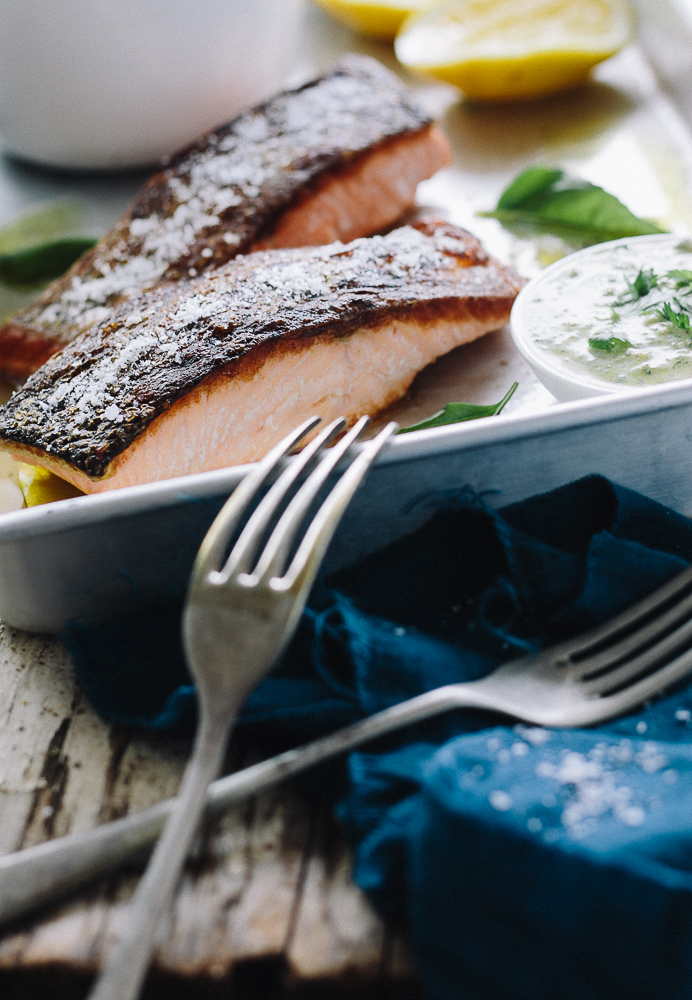 Crispy Sinned Salmon with Chermoula Sauce