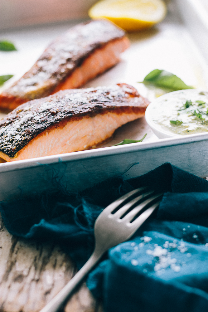 Crispy Skinned Salmon with Chermoula Sauce