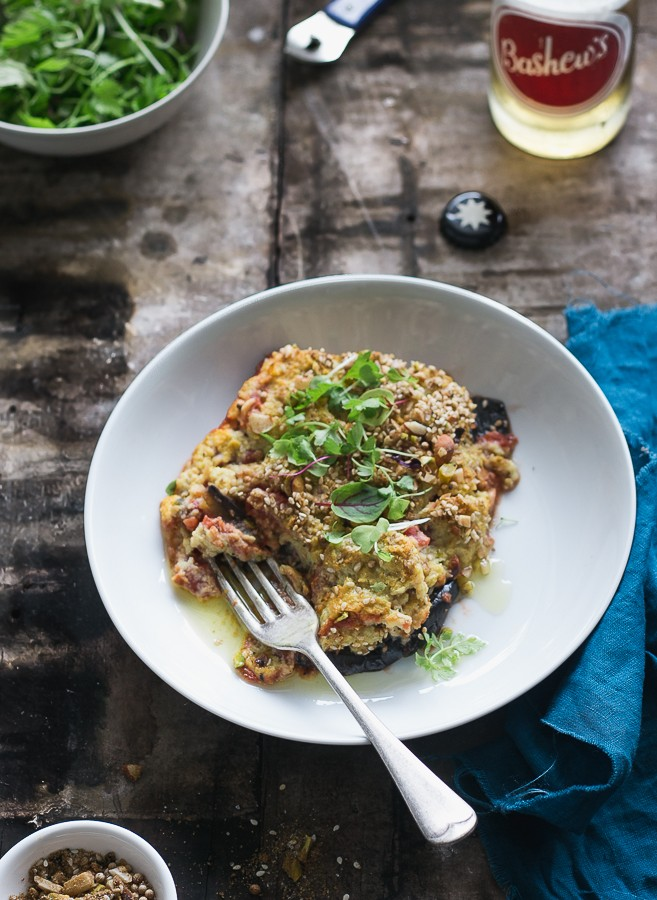 "Eggplant Parma with Cauliflower ""Cheese"""