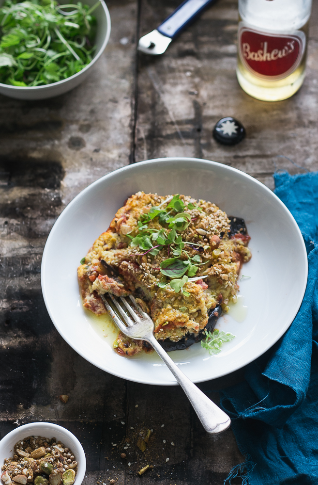 Eggplant Parma with Cauliflower 'Cheese'