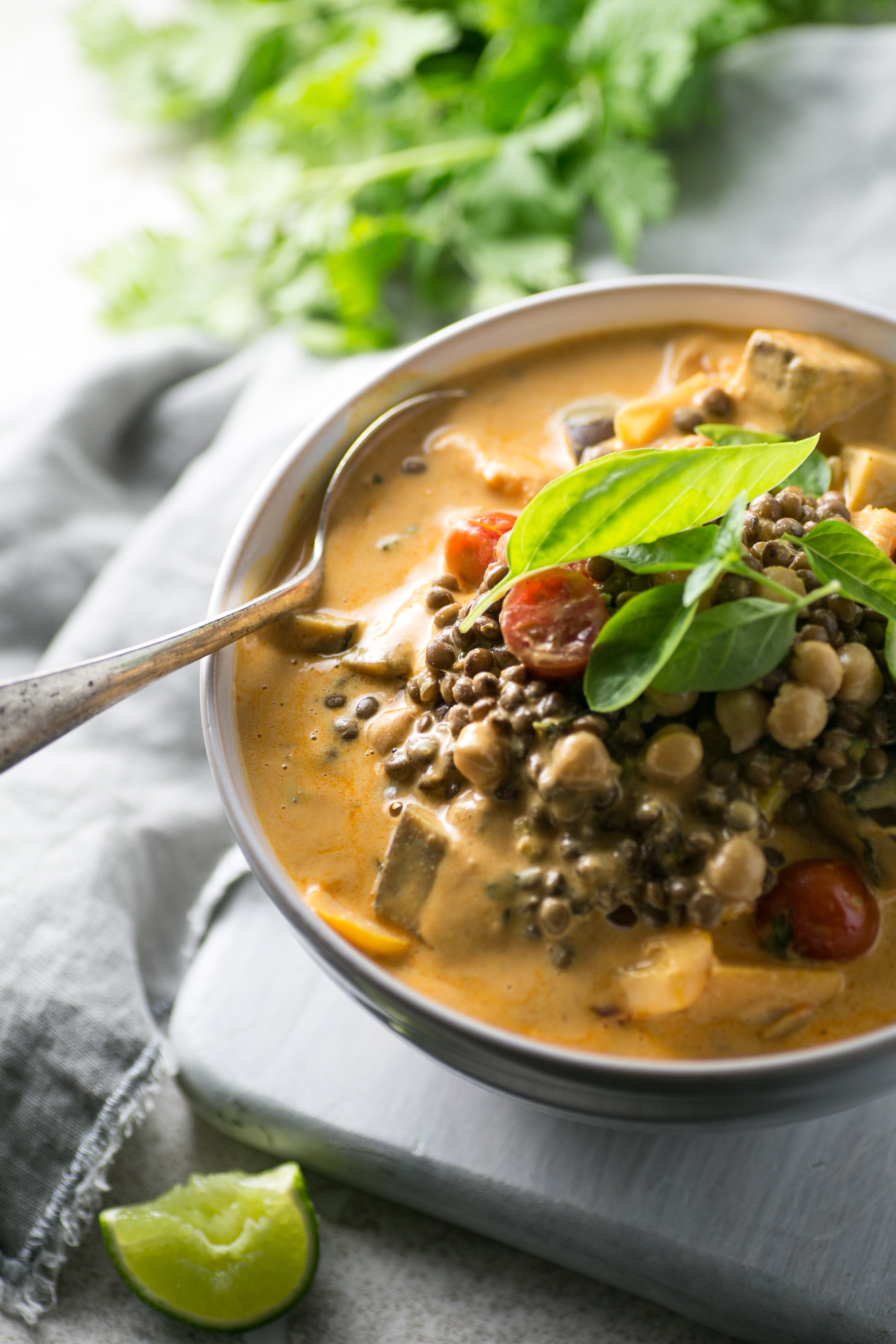 Red Thai Lentil and Chickpea Curry