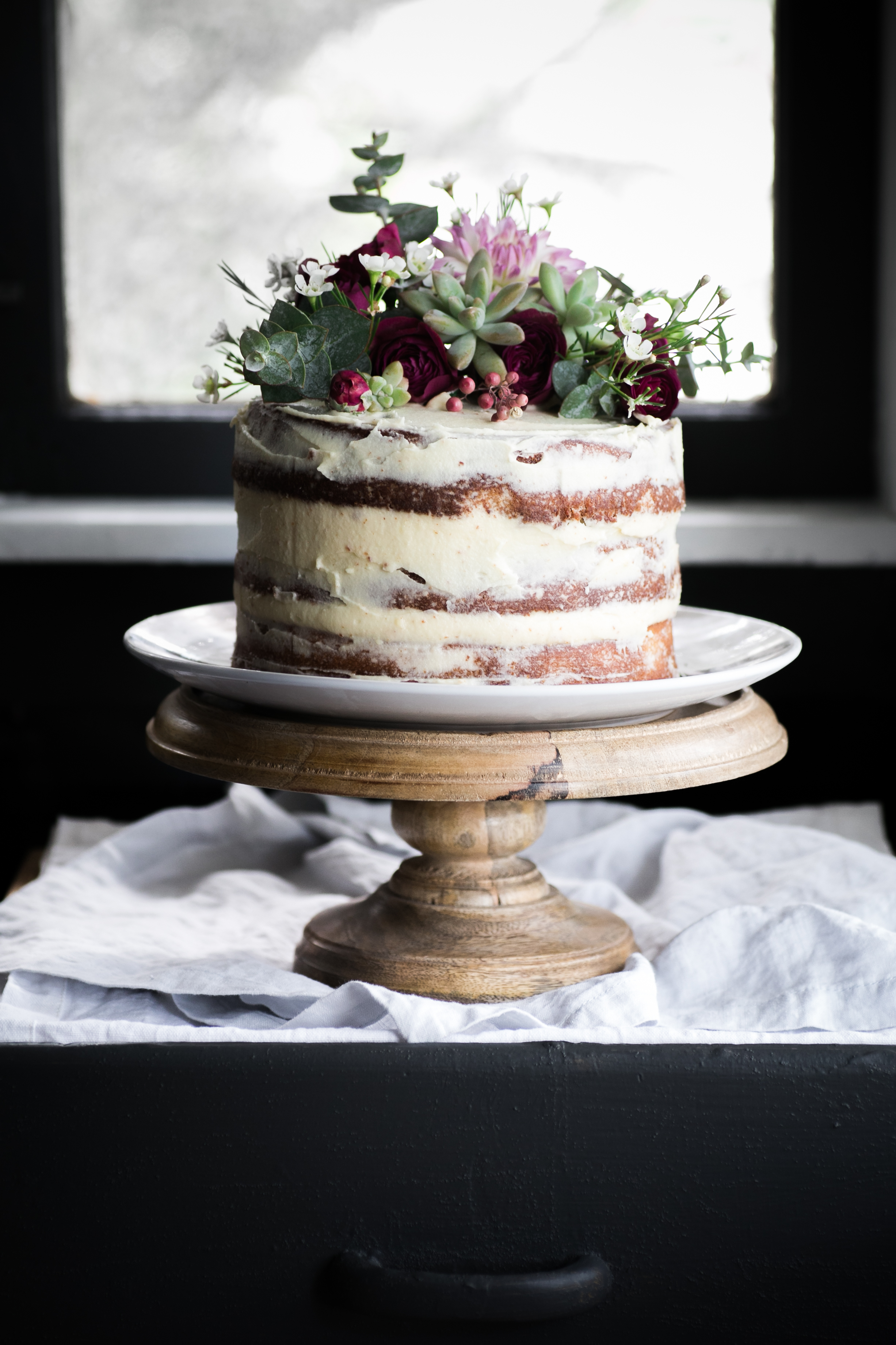 Almond and Spelt Cake with Rose Water Buttercream Icing || The Luminous Kitchen