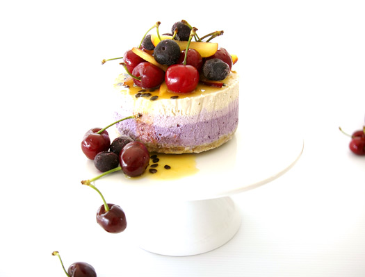 Blueberry and Passionfruit Raw Vegan Cheesecake