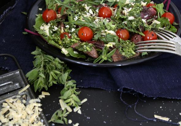 Kangaroo Salad with Balsamic Glaze and Chimichurri Sauce