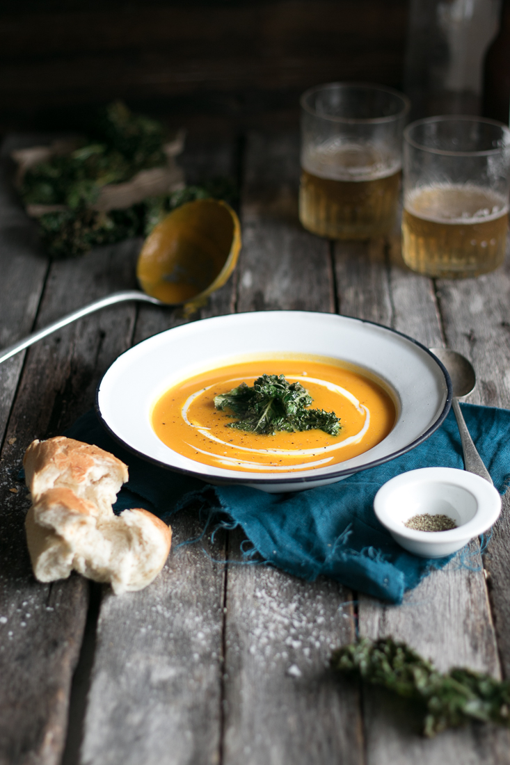 Butternut and Apple Soup with Kale Chips