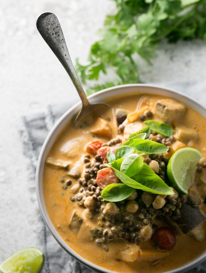 Creamy Red Thai Lentil and Chickpea Curry