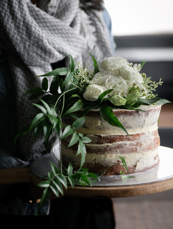 Spelt Flour Almond Cake with Rosewater Buttercream
